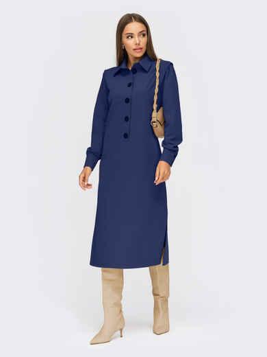 Темно-синее платье-рубашка с разрезами по бокам 54874, фото 1