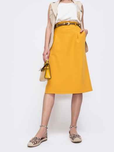Юбка из костюмной ткани желтого цвета 47047, фото 2