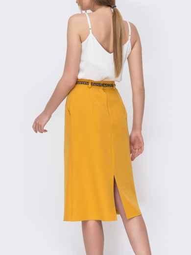 Юбка из костюмной ткани желтого цвета 47047, фото 3
