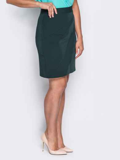 Юбка с косыми клиньями и потайной молнией зелёная - 14530, фото 2 – интернет-магазин Dressa