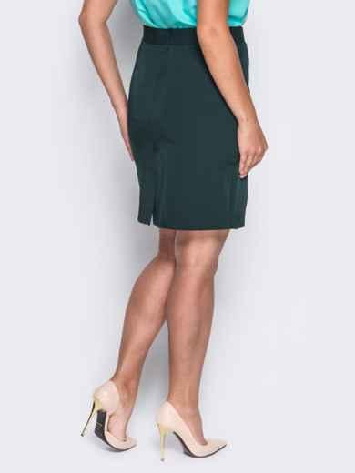 Юбка с косыми клиньями и потайной молнией зелёная - 14530, фото 3 – интернет-магазин Dressa
