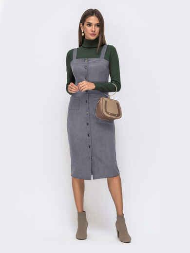 Замшевый сарафан серого цвета с карманами 50562, фото 1