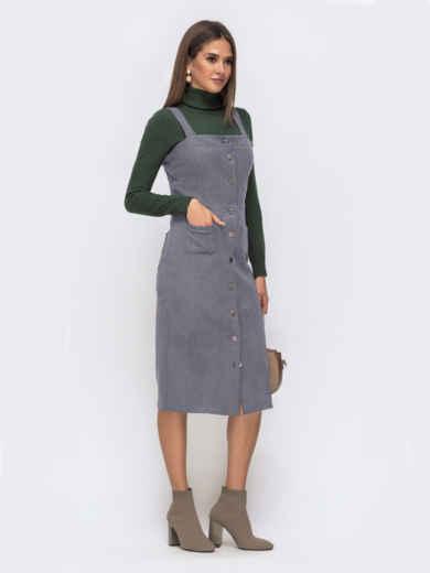 Замшевый сарафан серого цвета с карманами 50562, фото 2