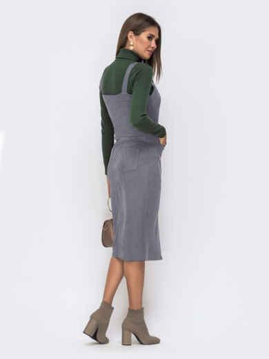 Замшевый сарафан серого цвета с карманами 50562, фото 3