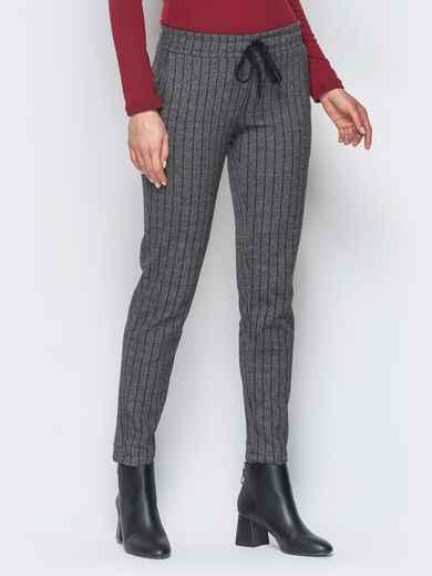 Жаккардовые брюки тёмно-серого цвета - 17757, фото 1 – интернет-магазин Dressa