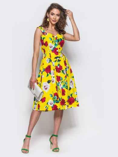 2c862a6f6f91 Желтый сарафан на пуговицах с цветочным принтом - 11920, фото 2 –  интернет-магазин