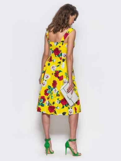 b8a025d06b2c Желтый сарафан на пуговицах с цветочным принтом - 11920, фото 3 –  интернет-магазин