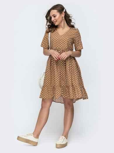 Бежевое платье в горошек свободного кроя 46999, фото 1