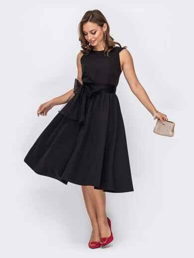 Чёрное платье-миди с фатиновым поясом 51932, фото 1