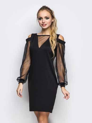 Полуприталенное платье с фатиновыми рукавами черное 11500, фото 1