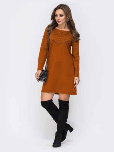 Платье из двунитки с контрастной кокеткой терракотовое 51712, фото 1