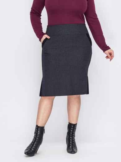 Графитовая юбка батал с контрастной окантовкой 53117, фото 1