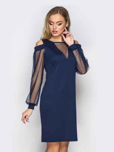 Приталенное платье с открытыми плечами и фатиновыми рукавами тёмно-синее - 11501, фото 2 – интернет-магазин Dressa