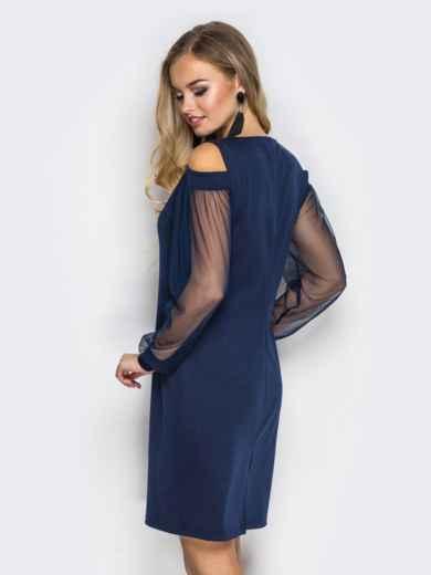 Приталенное платье с открытыми плечами и фатиновыми рукавами тёмно-синее - 11501, фото 4 – интернет-магазин Dressa