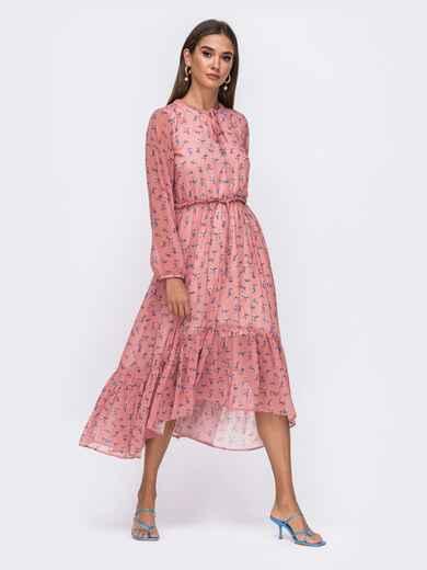 Розовое платье в цветочный принт с удлинённой спинкой  50097, фото 1