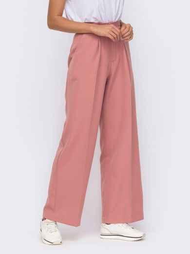 Широкие брюки розового цвета с высокой посадкой  50096, фото 2