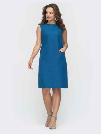Синее платье прямого кроя с карманами 46995, фото 1