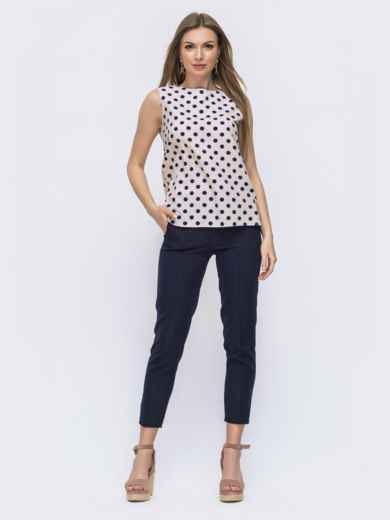 Тёмно-синий комплект из блузки в горох и брюк - 46994, фото 1 – интернет-магазин Dressa