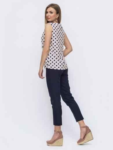 Тёмно-синий комплект из блузки в горох и брюк - 46994, фото 2 – интернет-магазин Dressa