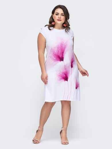 Белое платье батал с принтом 46426, фото 1