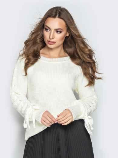 Белый свитер с рукавами-реглан и прошитыми косами - 20134, фото 2 – интернет-магазин Dressa