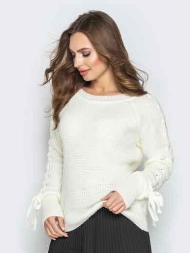 Белый свитер с рукавами-реглан и прошитыми косами - 20134, фото 3 – интернет-магазин Dressa