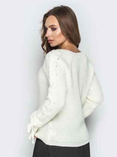Белый свитер с рукавами-реглан и прошитыми косами - 20134, фото 4 – интернет-магазин Dressa