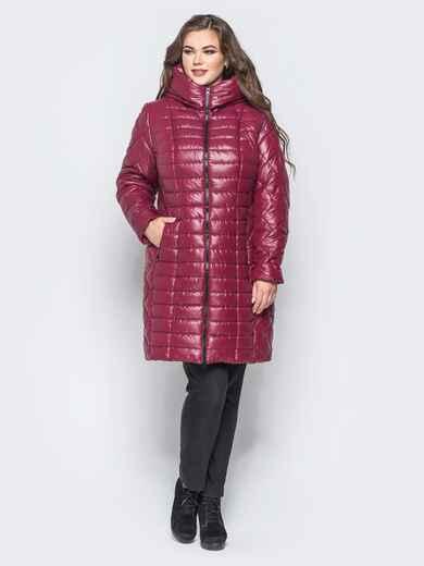 Бордовая зимняя куртка батал на змейке 14707, фото 1
