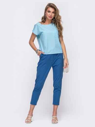 Брючный комплект голубого цвета с блузкой 48214, фото 1