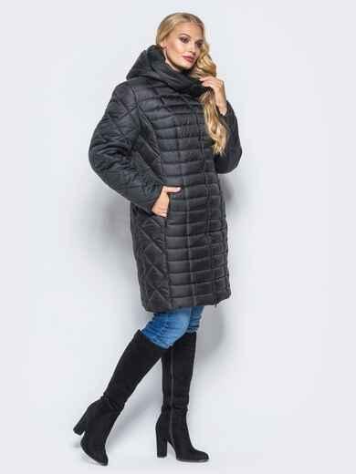 Черная зимняя куртка батал на змейке 14710, фото 1