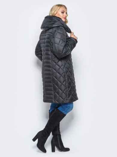 Черная зимняя куртка батал на змейке - 14710, фото 2 – интернет-магазин Dressa