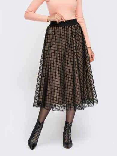 Расклешенная юбка-миди с фатином бежевая 55675, фото 1
