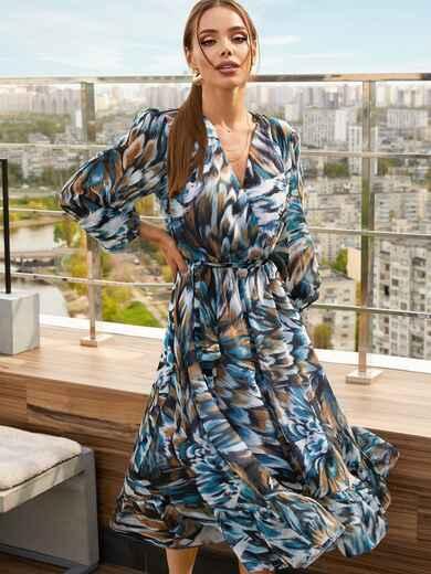 Голубое платье из шифона с принтом и юбкой клеш 53747, фото 1