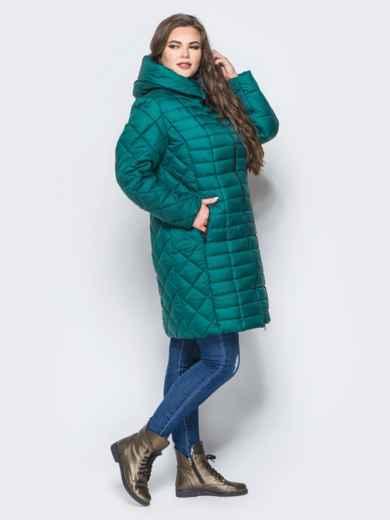 Изумрудная зимняя куртка батал на змейке 14709, фото 2