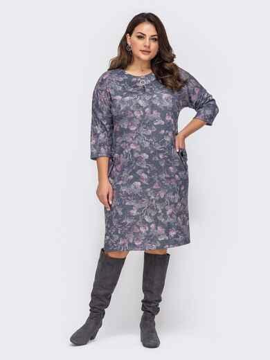 Платье батал графитового цвета с принтом 51484, фото 1