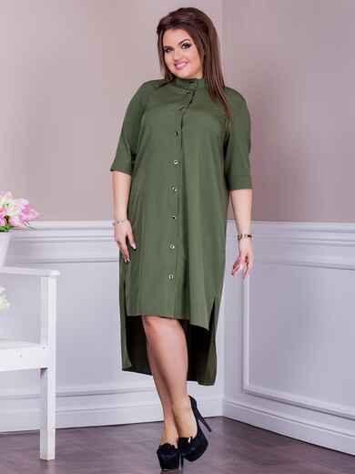 Платье батал с удлиненной спинкой хаки 47619, фото 1