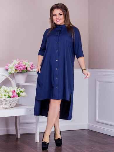 Платье батал с удлиненной спинкой тёмно-синее 47622, фото 1