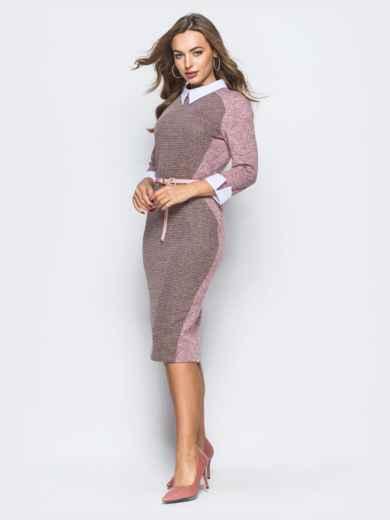 Платье розового цвета с контрастной вставкой спереди - 17915, фото 2 – интернет-магазин Dressa