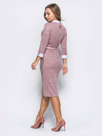 Платье розового цвета с контрастной вставкой спереди - 17915, фото 3 – интернет-магазин Dressa