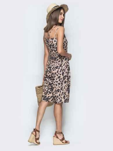 Принтованный комбинезон-шортами бежевого цвета - 39096, фото 3 – интернет-магазин Dressa