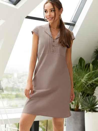 """Приталенное платье коричневого цвета из льна с рукавом """"крылышко"""" 54509, фото 1"""