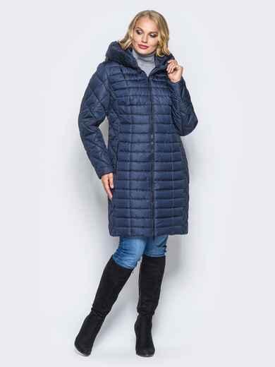 Темно-синяя зимняя куртка батал на змейке - 14706, фото 1 – интернет-магазин Dressa