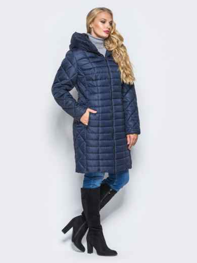 Темно-синяя зимняя куртка батал на змейке - 14706, фото 2 – интернет-магазин Dressa