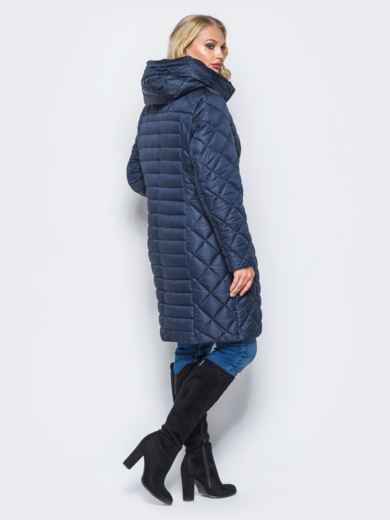 Темно-синяя зимняя куртка батал на змейке - 14706, фото 3 – интернет-магазин Dressa