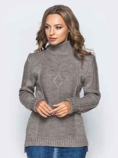 Вязаный свитер коричневого цвета с высоким воротником - 17083, фото 2 – интернет-магазин Dressa