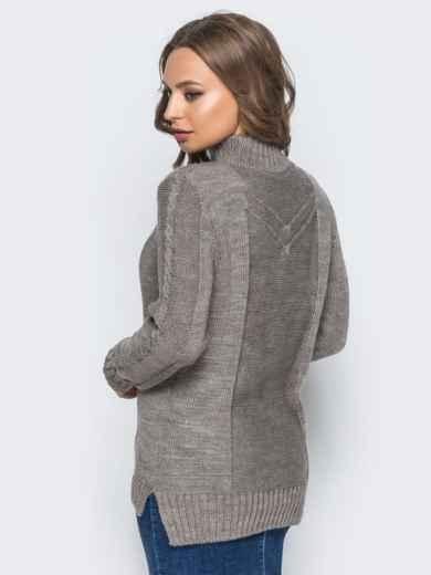 Вязаный свитер коричневого цвета с высоким воротником - 17083, фото 3 – интернет-магазин Dressa