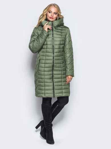 Зеленая зимняя куртка батал на змейке 14708, фото 1