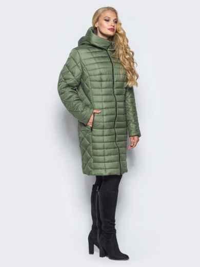 Зеленая зимняя куртка батал на змейке - 14708, фото 2 – интернет-магазин Dressa