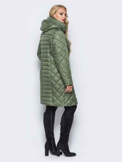Зеленая зимняя куртка батал на змейке - 14708, фото 3 – интернет-магазин Dressa