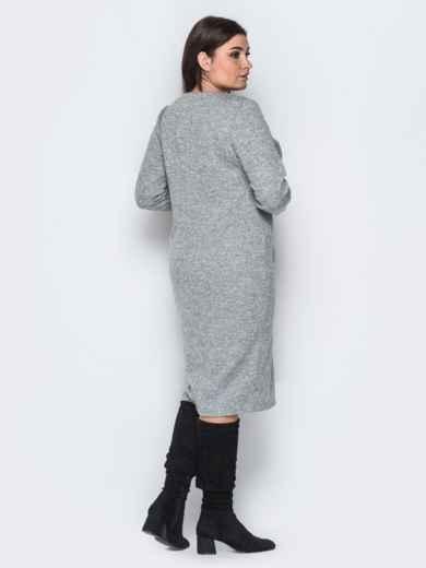 Ангоровое платье серого цвета с начесом - 18371, фото 2 – интернет-магазин Dressa